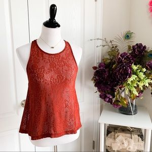 Forever 21 Sheer Lace Tank Top